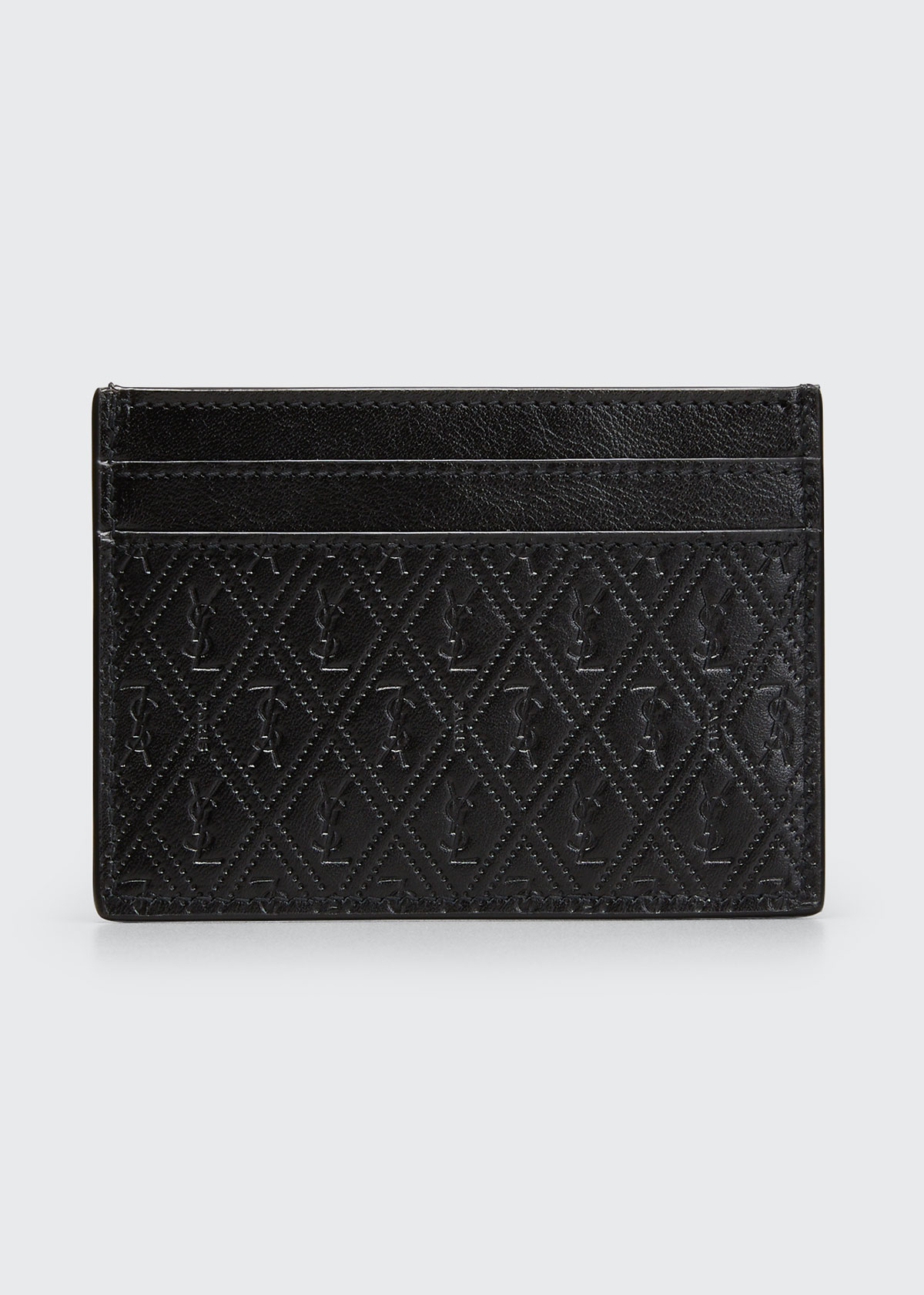 Saint Laurent MEN'S CASSANDRE YSL LOGO LEATHER CARD CASE