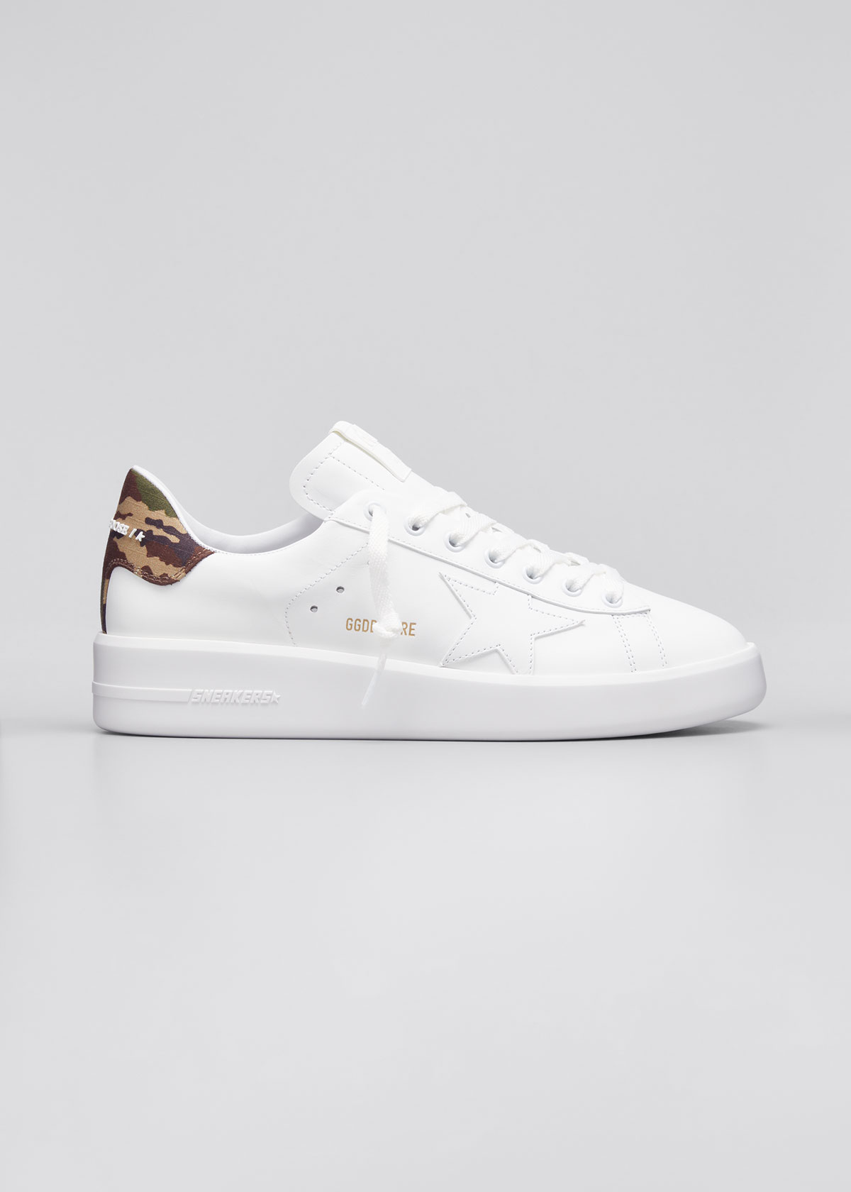 Golden Goose Leathers MEN'S PURE STAR CAMO-PRINT LEATHER SNEAKERS