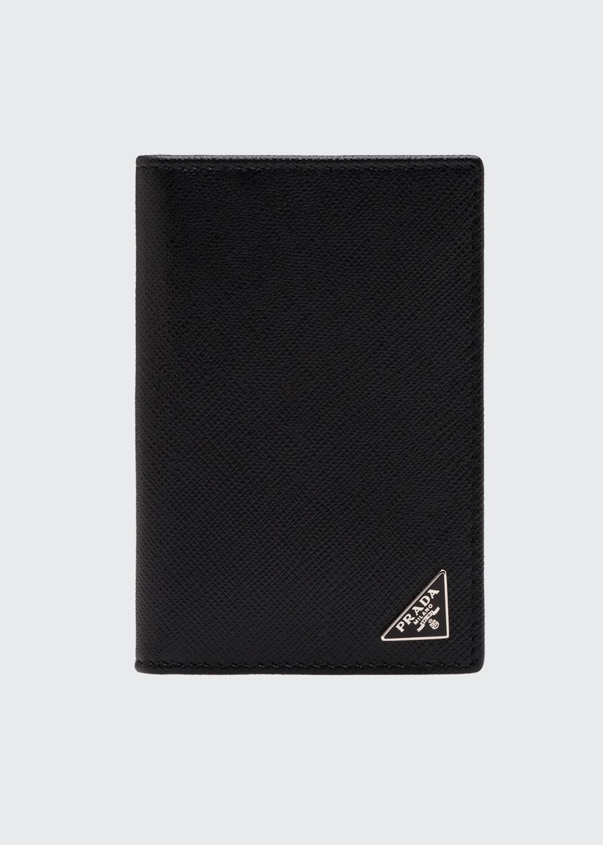 PRADA MEN'S SAFFIANO SLIM CARD HOLDER WALLET