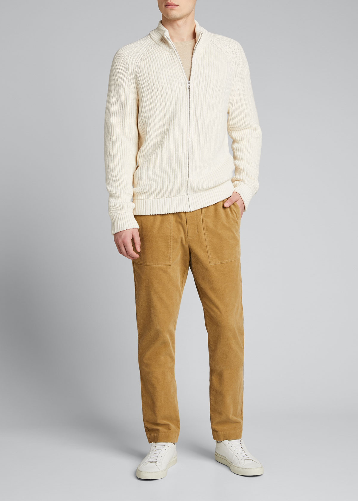 Vince Sweaters MEN'S RIBBED RAGLAN FULL-ZIP SWEATER