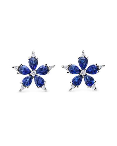 Small Stellanise Blue Sapphire & Diamond Stud Earrings