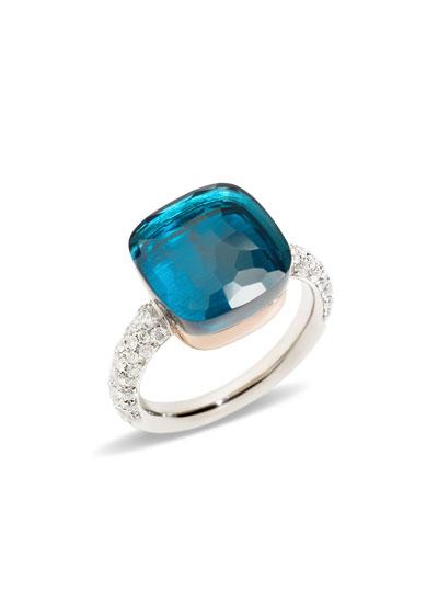 Nudo Grande Rose Gold & Blue Topaz Diamond Ring