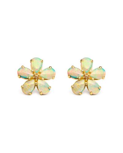 Opal & Spessartite Flower Stud Earrings