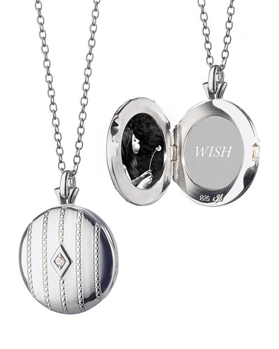 Pinstripe Diamond Locket Necklace