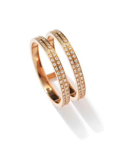 Berbère Two-Row Diamond Ring in 18K Rose Gold