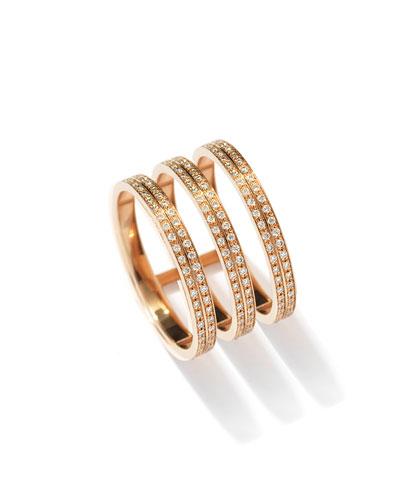 Berbère Three-Row Diamond Ring in 18K Rose Gold
