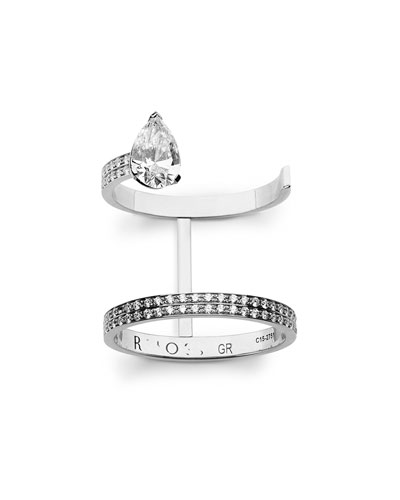 Two-Row Pavé & Pear Diamond Ring in 18K White Gold, Size 54