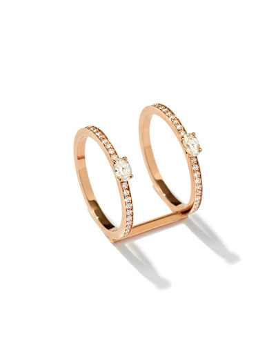 Mini Parallel Two-Band Ring with Diamonds in 18K Gold