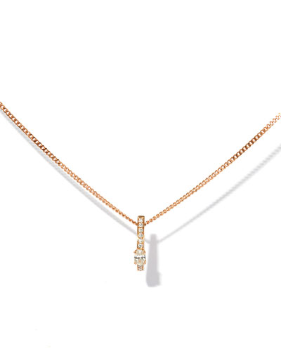 One-Row Pendant Necklace with Diamonds in 18K Rose Gold