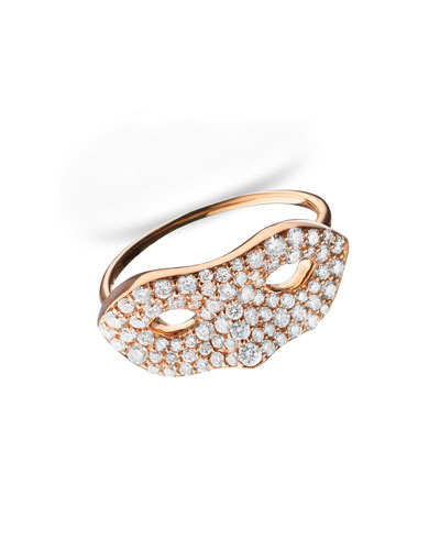 18K Rose Gold Mask Ring, Size 6