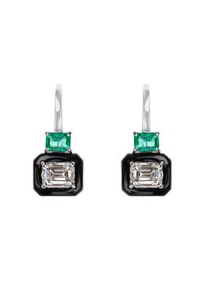 Oui 18k White Gold Black Enamel, Emerald & Emerald-Cut Diamond Earrings