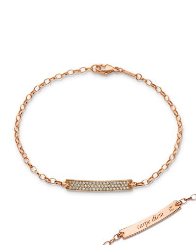 Petite Poesy Diamond ID Bracelet in 18K Rose Gold