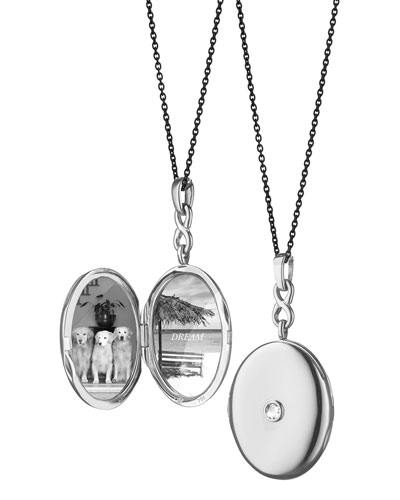 Silver Rose-Cut White Sapphire Locket Necklace, 30