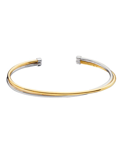 Silver & 18k Yellow Gold Flex 2-Row Cuff Bracelet