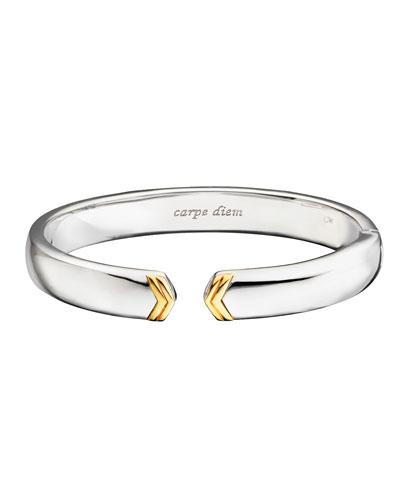 Sterling Silver Cuff Bracelet with 18k Gold Chevron