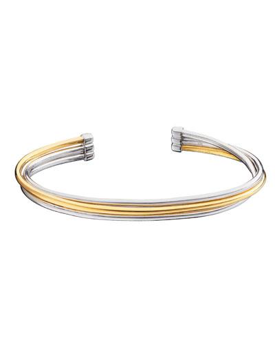 Silver & 18k Yellow Gold Flex 3-Row Cuff Bracelet