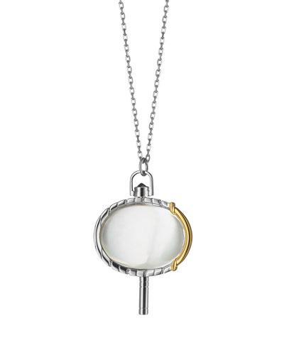 Silver & 18k Yellow Gold Pinstripe Pocket Watch Key Pendant Necklace, 36