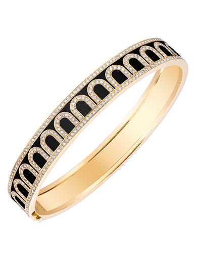 L'Arc de Davidor 18k Gold Diamond Bangle - Med. Model, Caviar, 7