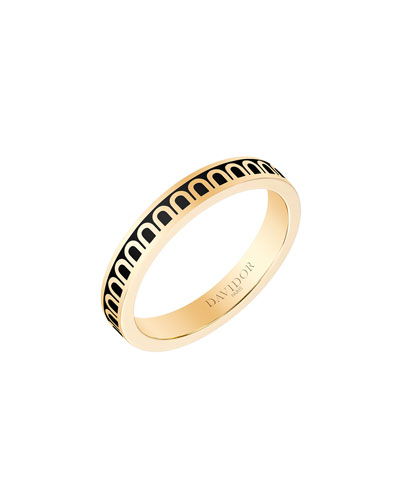 L'Arc de Davidor 18k Gold Ring - Petite Model, Caviar, Sz. 8