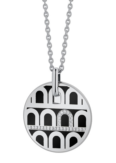 L'Arc de Davidor 18k White Gold Porta Diamond Pendant Necklace - Grand Model