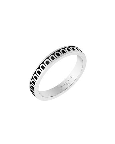 L'Arc de Davidor 18k White Gold Ring - Petite Model, Caviar, Sz. 6.5