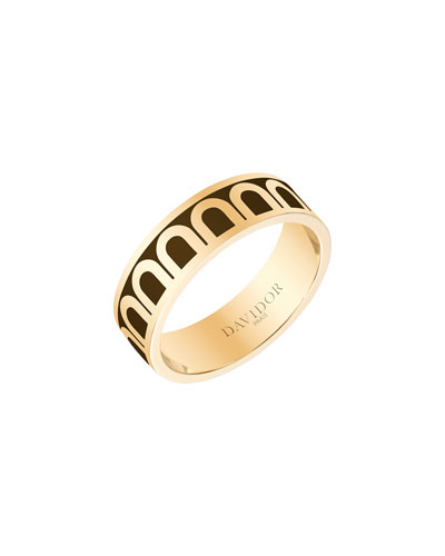 L'Arc de Davidor 18k Gold Ring - Med. Model, Cognac, Sz. 7.5