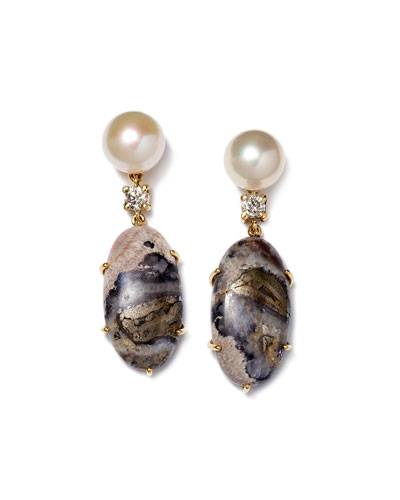 18K Bespoke Tribal Luxury 2-Tier Earring with Pearl, Celestrobarite, and Diamond