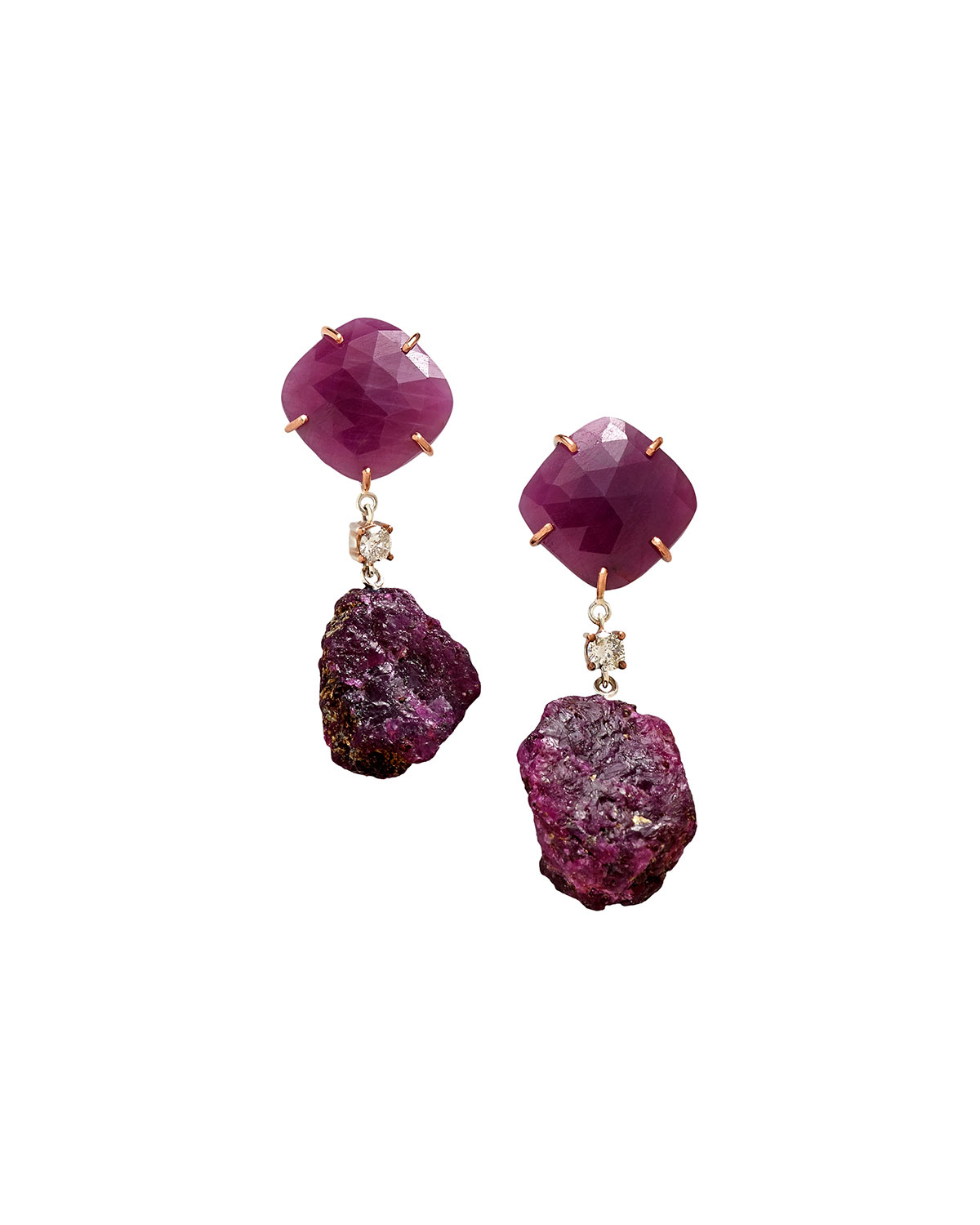 Jan Leslie 18K BESPOKE 2-TIER TRIBAL LUXURY EARRING WITH FACETED RUBY, ROUGH RUBY, AND DIAMOND