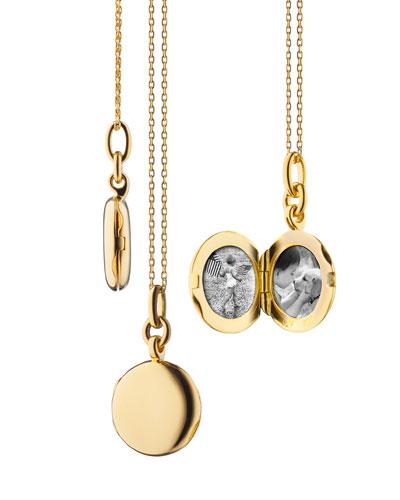 18K Yellow Gold Round Locket Necklace