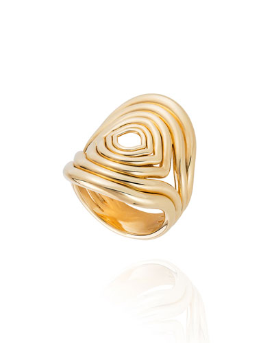 Rounded Lines 18k Gold Ring, Size 8