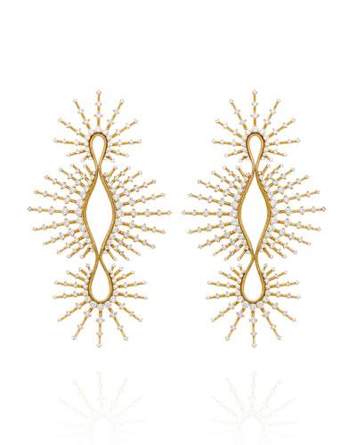 Clarity 18k Linear Open Diamond Earrings