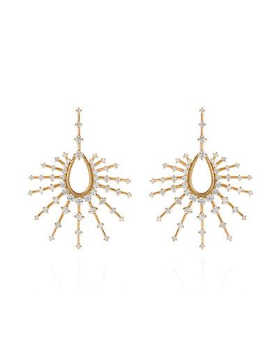 18k Small Open Drop Earrings w/ Diamonds