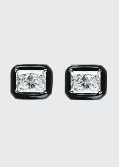 Oui 18k White Gold Black Enamel & Diamond Stud Earrings