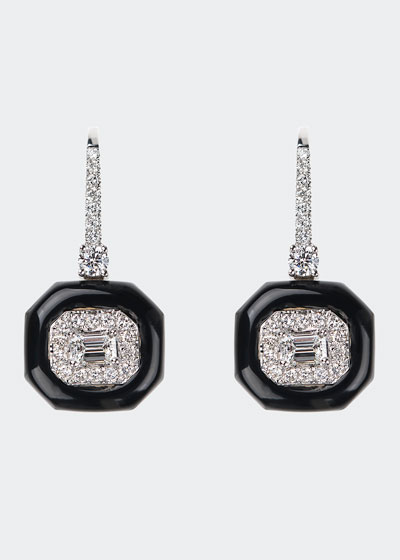 Oui 18k White Gold Diamond & Black Enamel Drop Earrings