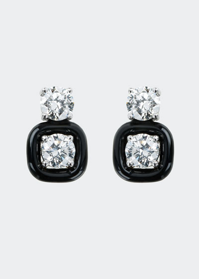 Oui 18k White Gold Black Enamel & Diamond Snowman Earrings
