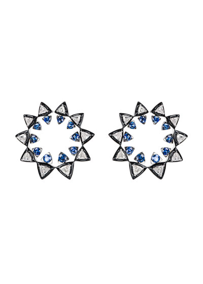V 18k White Gold Diamond & Sapphire Sun Earrings