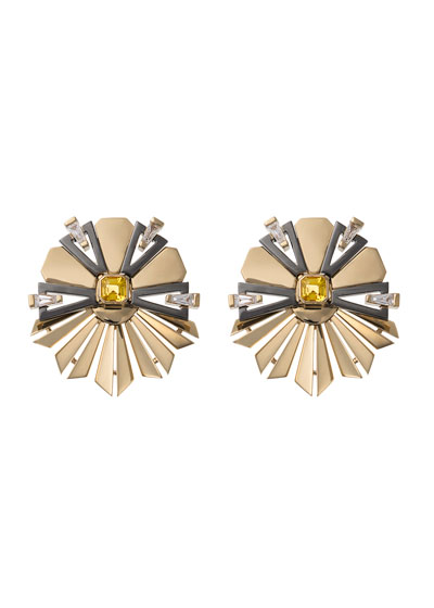 18k Gold Fame Yellow Sapphire/Diamond Fanned Earrings