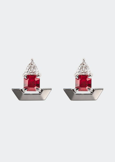 18k White Gold Fame Ruby/Diamond Stud Earrings
