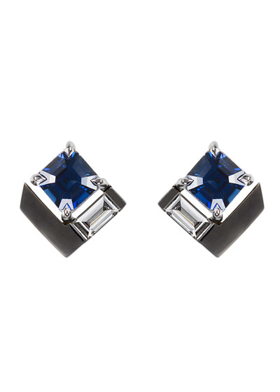 18k White Gold Fame Blue Sapphire/Diamond Square Earrings