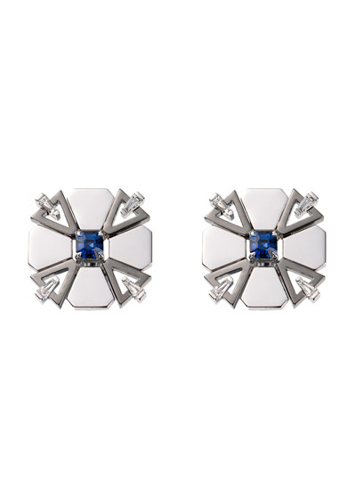 18k White Gold Fame Blue Sapphire/Diamond Stud Earrings