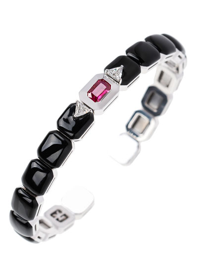 Oui 18k White Gold Split Diamond, Ruby & Black Enamel Bracelet