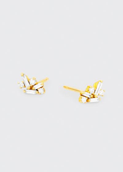 18k Yellow Gold Diamond Cluster Earrings