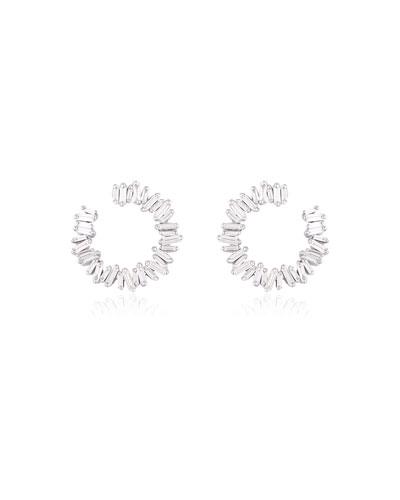 Medium Spiral 18k White Gold Diamond Earrings