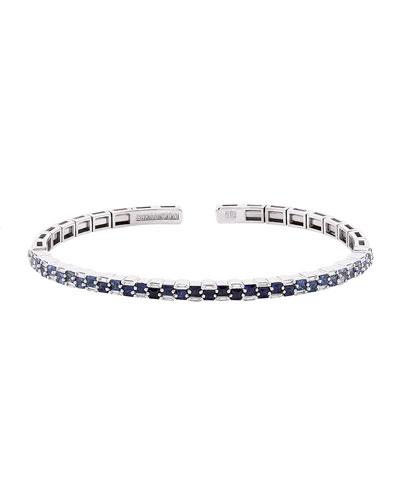 18k White Gold Ombre Blue Sapphire & Diamond Bangle, Size Medium
