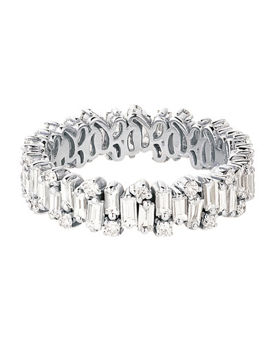 18k White Gold Mixed-Cut Diamond Eternity Ring, Size 6