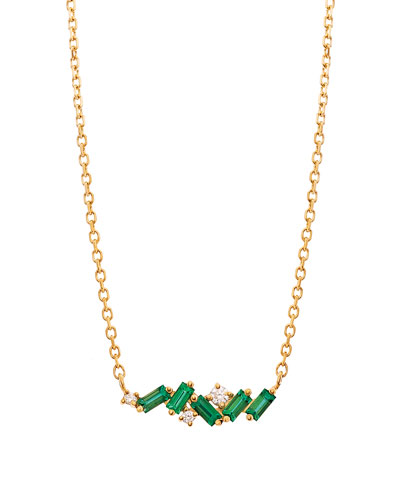 18k Diamond & Emerald Fireworks Necklace