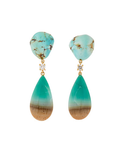 18k Bespoke 2-Tier Tribal Luxury Earrings w/ Kazakhstan Turquoise, Blue Petrified Opal & Diamonds
