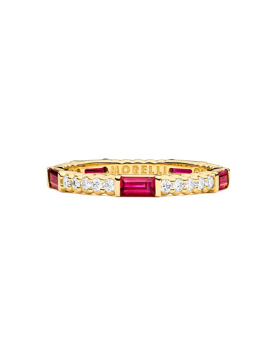 Ruby & Diamond Pinpoint Baguette Ring in 18K Gold, Size 6.5