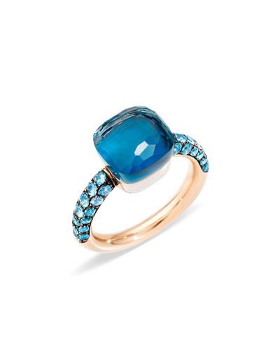 NUDO 18k Rose Gold & White Gold Topaz/Turquoise Ring