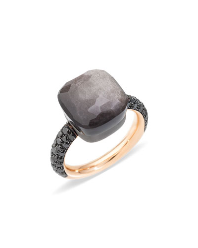 NUDO 18k Rose Gold/Titanium Maxi Obsidian & Black Diamond Ring